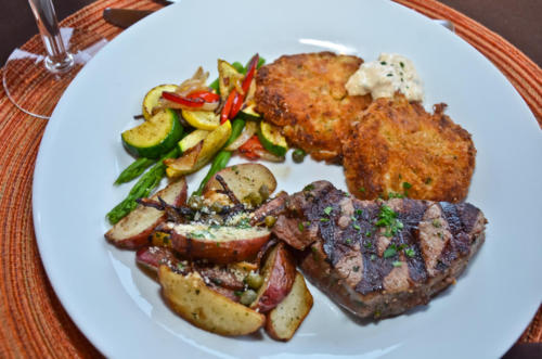 Medallion of Beef with Crab Cakes & Remoulade
