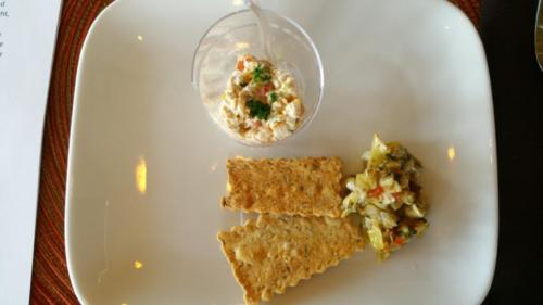 Sample Snack Plate: Pesto Chicken Salad and Artichoke Relish